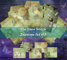 Ephemera, Envelope, Witch, Fox, Printables, Scrapbook, Your Image, Create, Green