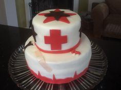 Nurse graduation cake - red velvet cake