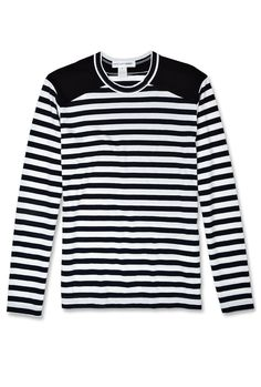 Peter England University Striped Round Neck Casual Men White, Green Sweater