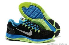 new style e8153 6ddfe 2013 Mens Nike LunarGlide 5 Suede Black Blue Fluorescence Green Silver Shoes  Silver Shoes, Nike