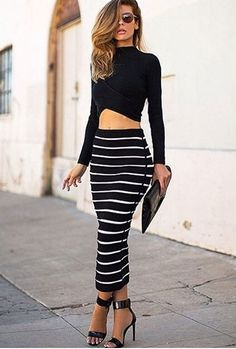 2 Piece Set Stretch Crop Top and Long Pencil Skirt Set-Casual Dresses-Look Love Lust Stripe Skirt, Striped Dress, Dress Black, Outfits Blanco, Crop Top Noir, Long Pencil Skirt, Pencil Skirts, Pencil Dress, Striped Two Piece