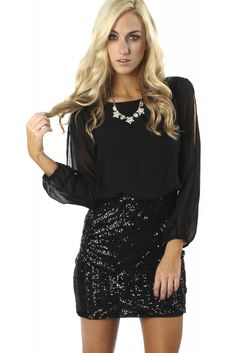 Slit Sleeve Sequin Dress