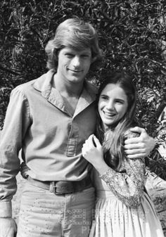 Black and white Little House on the Prairie photo - Dean Butler (Almanzo Wilder) and Melissa Gilbert (Laura Ingalls)