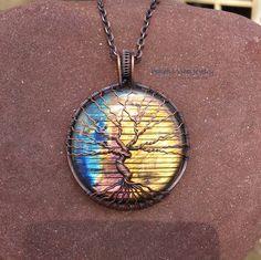 Labradorite Tree Of Life Necklace Wire Wrap Copper Pendant Yellow Blue Purple Labradorite Handmade Statement Necklace Boho Artisan Jewelry by PeacefulVibesJewelry on Etsy