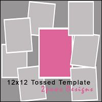 2paws Designs: Freebie Friday - 12x12 Tossed Template #scrapbooking #digiscrap #free