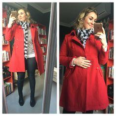 #black #white #stripes #red #jacket #scarf #boots #earrings #nailpolish #imageconsultant #imagecoach #saimage #stylist #personalshopper #motivationalspeaker Post Pregnancy Clothes, Pre Pregnancy, Pregnancy Outfits, Image Coach, Personal Style, Black White, Stylists, Stripes, Leather Jacket