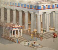 Zeichnerische Rekonstruktion des Tempel B in Selinunt.