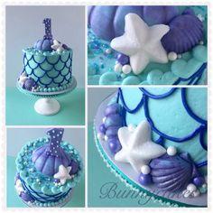 Mermaid inspired clam shell 1st Birthday smash cake