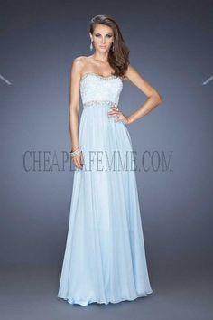 Powder Blue Lace Bodice La Femme 20128 Prom Dress with Beaded Neck