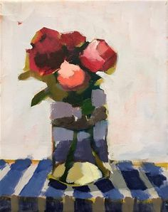 "Daily Paintworks - ""Chunky Roses in a Jar"" - Original Fine Art for Sale - © Pamela Hoffmeister"