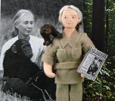 Jane Goodall Doll Miniature Art Character by UneekDollDesigns, $48.00