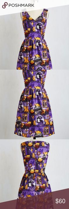 Modcloth Spirit in the Fright Dress Halloween Modcloth Spirit in the Fright Dress Halloween Pumpkins Cats Kittens Sz M  Attention all Halloween lovers, this dress is a must have to add to your closet! This gently used, adorably printed dress is perfect for fall and Halloween! The print has pumpkins, cobwebs, and kittens - oh my! 100% cotton and incredibly comfortable this dress has a flattering V-neck and gathering at the waist. The scaredy cat motif on top of a rich amethyst base makes this…