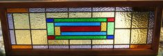 TRANSOM STAINED GLASS window panel art deco