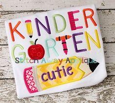 Kindergarten Cutie Applique - 4 Sizes!   What's New   Machine Embroidery Designs   SWAKembroidery.com Stitch Away Applique