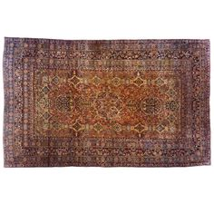 Antique Persian Lavar Oriental Carpet, in Mansion Size, with Multiple Medallions | From a unique collection of antique and modern persian rugs at https://www.1stdibs.com/furniture/rugs-carpets/persian-rugs/