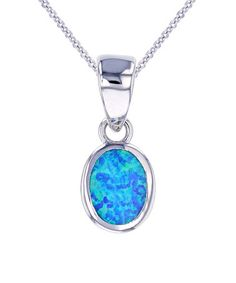 Look what I found on #zulily! Blue Opal & Sterling Silver Oval Pendant Necklace #zulilyfinds