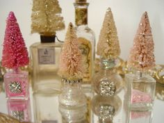 Bottle Brush trees, glittered, adorned with rhinestones, Miniature Perfume Bottl … - Christmas Crafts Shabby Chic Christmas, Pink Christmas, All Things Christmas, Winter Christmas, Vintage Christmas, Christmas Holidays, Christmas Decorations, Christmas Ornaments, Christmas Projects