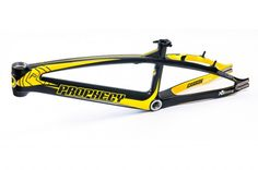 I'm loving that colorway of the the limited edition Prophecy SCUD EVO carbon fiber BMX race frame! The Yellow and carbon/charcoal grey colorway looks sick