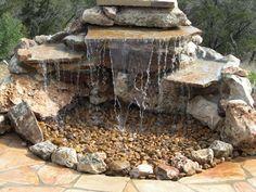 DIY Garden Fountain : DIY Pond-less waterfall, this would make a great bird bath too for hummingbirds(Diy Garden Waterfall) Backyard Water Feature, Ponds Backyard, Backyard Landscaping, Landscaping Ideas, Backyard Waterfalls, Garden Ponds, Large Backyard, Waterfall Landscaping, Herb Garden