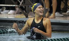 Olivia Smoliga after setting a state swim record last fall.  (David Banks / for the Chicago Tribune)