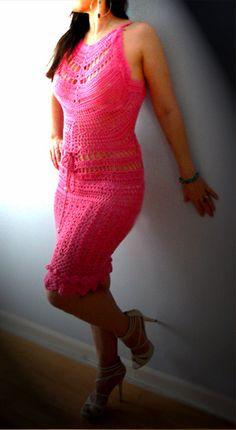 Pink crochet halter dress Organic women boho by Cristinasatelier