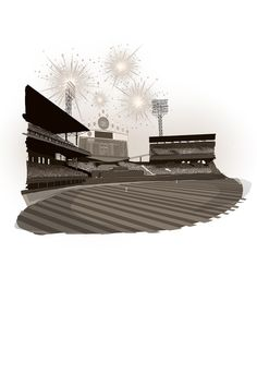 """Old Comiskey Scoreboard exploding from """"Grandpa is a White Sox Fan, Daddy is a White Sox Fan, I am White Sox Fan.""""  Illustration by Brent McCarthy  www.chicagosportsmemories.com Chicago Cubs Fans, Sun Lounger, Daddy, Objects, Illustrations, Animals, Chaise Longue, Animales, Animaux"""