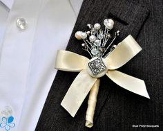 Jewel Blossom #Boutonniere #Brooch
