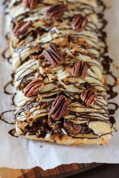 """""""Magic"""" Chocolate, Coconut, and Pecan Pastry Braid    by Willow Bird Baking #Pecan #Coconut #Chocolate"""