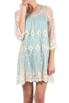 RYU Boutique Anthropologie Bohemian Mint Cream Lace Tunic Cocktail Dress  S M L  #Ryu #Tunic #Cocktail