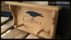 """Primitive Peg Shelf in Mustard with stenciled black crow and the word """"gather""""... distressed and antiqued"""