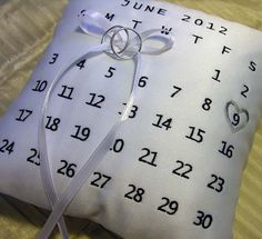Wedding Ring Pillow with Custom Calender Design by MondeDesign, $55.00