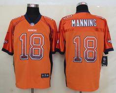 Men's NFL Denver Broncos #18 Manning Drift Fashion Orange