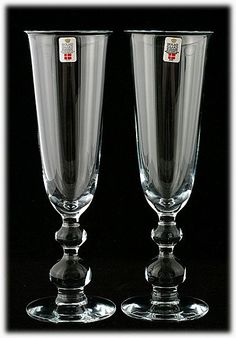 Pair of Holmegaard Scandinavian Art Glass Champagne Flutes. Perfect for Weddings!