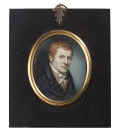 "Portrait Miniature of a Red-Haired Gentleman in Dark Blue Coat, Circa - Watercolor on ivory, 2 x 2 inches. The reverse inscribed ""J."" In a black painted frame with brass bezel, 5 x 4 inches. Miniature Paintings, Miniature Portraits, Portrait Paintings, Watercolor Portraits, Grand Budapest, Sketch Painting, Historical Costume, Painting Frames, Family Portraits"
