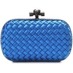 Bottega Veneta Knot Satin and Snakeskin Clutch (£1,185) ❤ liked on Polyvore featuring bags, handbags, clutches, blue, satin clutches, snake skin handbags, blue purse, bottega veneta purse and bottega veneta clutches