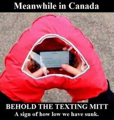 Images of the day - 76 pics - Meanwhile In Canada Behold The Texting Mitt