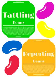 Classroom guidance lesson for teaching the difference between tattling and reporting. Student's are given different scenarios and decide if that is a tattling bean or a reporting bean.