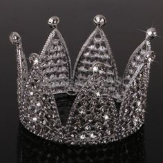 Crystal Rhinestone Side Round Crown Woman Bridal Tiara for Wedding Birthday