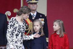 Queen Letizia of Spain, Princess Leonor, and Princess Sofia attend 2016 National Day military parade