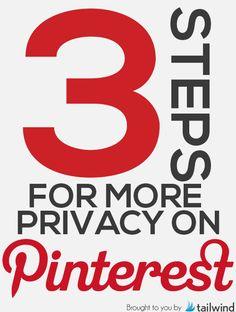 3 steps for privacy on #Pinterest. | Follow #PinterestFAQ Pins curated by Joseph K. Levene Fine Art, Ltd. http://www.pinterest.com/jklfa/pinterest-faq/