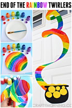 Rainbow Paper Plate Twirlers!  Such a cute St. Patrick's Day project!!