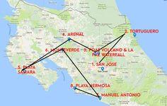 Costa Rica Monkey Tours - Coast to Coast Map of destinations
