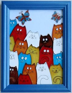 Glass Painting Designs, Paint Designs, Paper Art, Paper Crafts, Cat Quilt, Cat Crafts, Whimsical Art, Cat Art, Easy Drawings