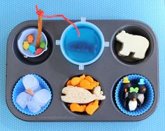 Muffin Tin Monday - An Arctic themed meal Muffin Tin Recipes, Arctic Animals, Good Food, Fun Food, Bento Box, School Lunch, Winter Theme, Holiday Crafts, Kids Meals