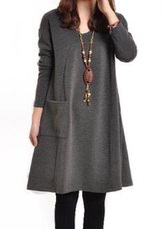21.51$  Watch here - http://dirzk.justgood.pw/go.php?t=160927 - Pocket Design Round Neck Grey Straight Dress