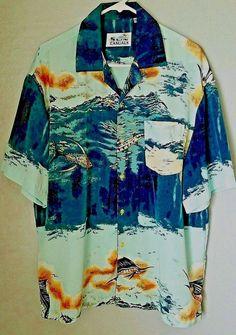 Sword Fish Design Ocean Sun Casuals Large Men's SS Shirt 100% Polyester #SunCasuals #ButtonFront