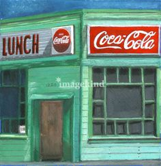 """""""Wolf's Diner"""" by Linda O'Neill, Boulder, Colorado // Fine Art by Linda O'Neill ~ original is oil pastel on gesso coated paper. This is an old diner in San Francisco. // Imagekind.com -- Buy stunning, museum-quality fine art prints, framed prints, and canvas prints directly from independent working artists and photographers."""
