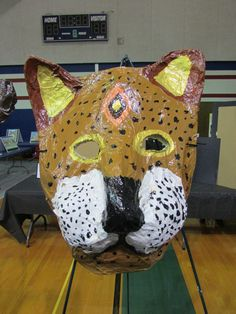 My 3rd grade student's paper mache cheetah mask; lesson by art teacher: Susan Joe
