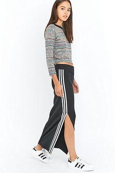 adidas Originals - Jupe longue à 3 rayures noire
