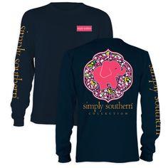 Simply Southern Preppy Elephant Daisy Navy Long Sleeve T-Shirt